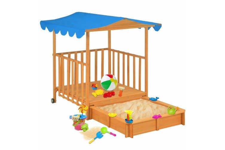 Kids Playhouse with Sandbox Fir Wood Blue UV50