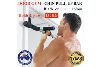 Portable Heavy Duty Chin Up Pull Up Bar Door Gym Doorway Exercise Workout - Silver