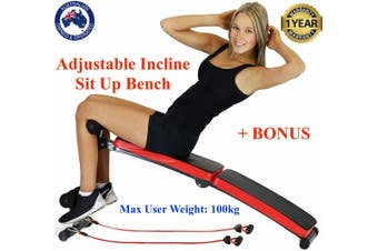Foldable Adjustable Sit Up Weight Bench Press Fitness Home Gym Resistance Bands