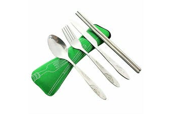 4Pcs Stainless Steel Cutlery Set Knife Fork Spoon Chopsticks With Portable Bag A