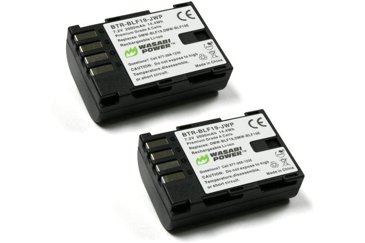 Wasabi Power Battery (2-Pack) for Panasonic DMW-BLF19 and Panasonic Lumix DMC-GH3, DMC-GH4, DC-GH5, DC-GH5S, DC-G9