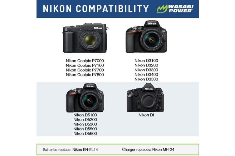 Wasabi Power ENEL14 Battery (2-Pack) for Nikon EN-EL14,EN-EL14a and Nikon Coolpix P7000, P7100, P7700, P7800, D3100, D3200, D3300, D5100, D5200, D5300, Df