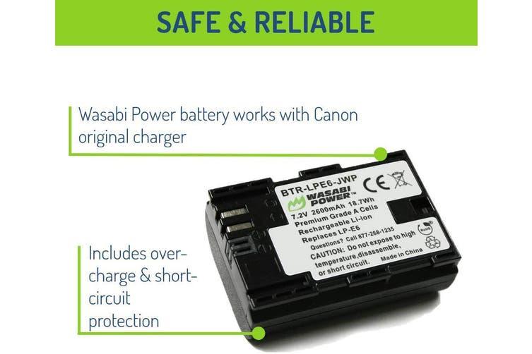 Wasabi Power LP-E6, LP-E6N (2-Pack) Battery for Canon EOS 5D Mark II, Mark III, Mark IV, 5DS, 5DS R, 6D, 60D, 60Da, 6D Mark II, 7D, 7D Mark II, 70D, 80D, R, R5, R6, XC10, XC15