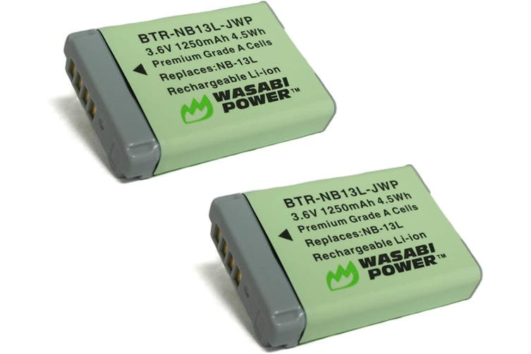 Wasabi Power NB-13L Battery (2 Pack) for Canon PowerShot G1 X Mark III, G5 X, G7 X, G7 X Mark II, G9 X, G9 X Mark II, SX620 HS, SX720 HS, SX730 HS, SX740 HS