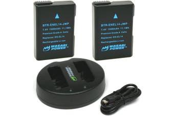 Wasabi Power ENEL14 Battery (2-Pack) and Dual Charger for Nikon EN-EL14,EN-EL14a and Nikon Coolpix P7000, P7100, P7700, P7800, D3100, D3200, D3300, D5100, D5200, D5300, Df