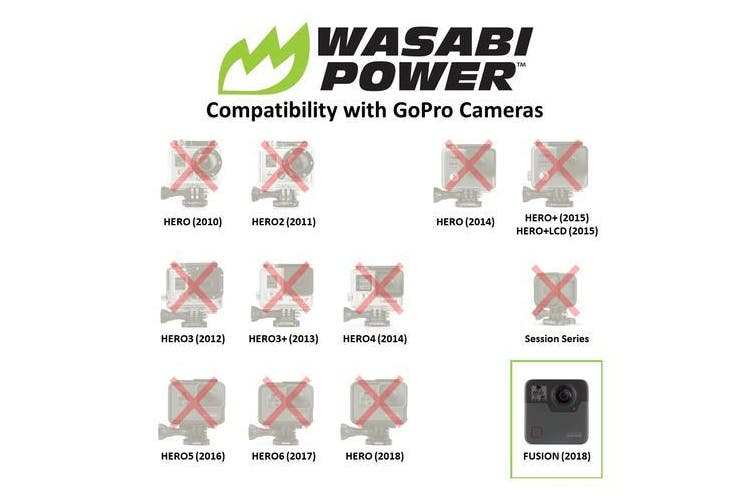 Wasabi Power GoPro Fusion Battery (2 Pack) and Dual Charger