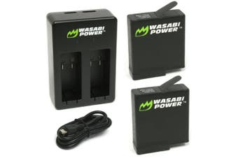 Wasabi Power Battery (2-PACK) AND Dual Charger For GoPro HERO7 BLACK, HERO6 BLACK, HERO5 BLACK, HERO 2018