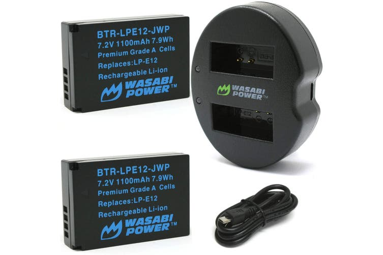 Wasabi Power LP-E12 Battery (2-Pack) and Dual USB Charger for Canon EOS M, EOS M10, EOS M100, EOS M200, EOS M50, EOS Rebel SL1 (EOS 100D), PowerShot SX70 HS