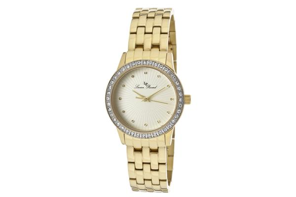 View more of the Lucien Piccard Women's Monte Velan White Austrian Crystal ChampagneTextured Dial Gold Tone IP Stainless Steel (LP-11696-YG-10)