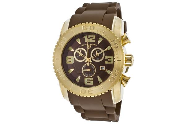 Read More > Swiss Legend Commander Chrono Gold-Tone Steel Case Chronograph Brown Dial Brown Silicone Strap (SL-10067-YG-04)
