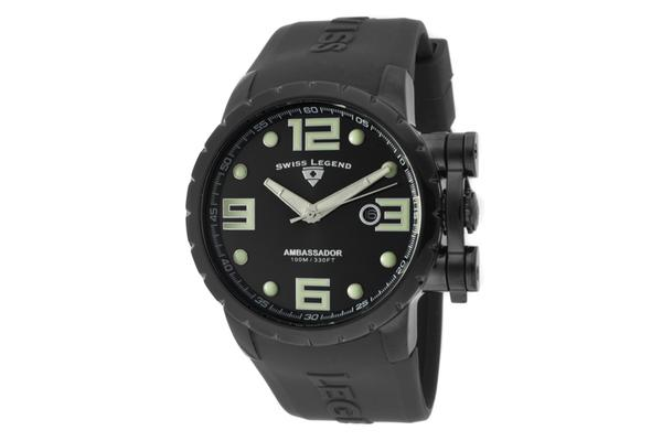 View more of the Swiss Legend Men's Ambassador Black Dial Black IP Case Black Silicone (SL-30021-BB-01)
