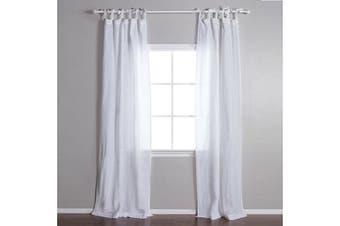 Linen-poly Tie Top Curtain Linen Panel Drapes 135cmWx213/240cmD 1 Panel/Bag Colour White