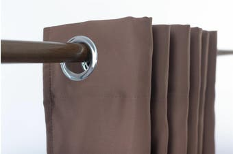 Blockout Eyelet Curtain 3 layer Pure Fabric Drapes Room Darkening  6 Colors  Colour chocolate