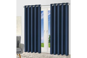 Blackout Eyelet Curtain Drape Room Darkening 160cm&230cmDrop 1 Panel Dark Blue