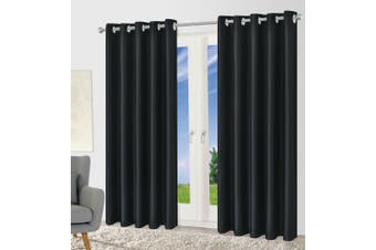 Blackout Eyelet Curtain Drape Room Darkening 160cm&230cmDrop 1 Curtain Black