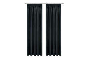 Pencil Pleat Blackout Drop Blockout Curtain Room Darkening  213cm Drop Pc/Pair Colour black