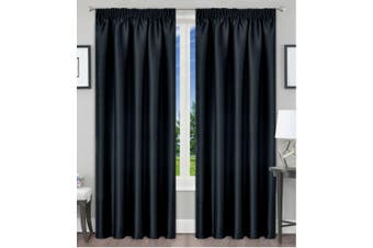 Blackout Pencil Pleat Curtain Room Darkening 213/230cm Drop Black 1Panel