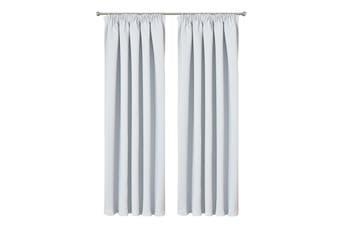 Blockout Curtain Pencil Pleat Blackout Room Darkening Drapes 230CM DROP  Colour offwhite(silver)