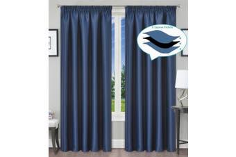 Blackout Pencil Pleat Curtain Room Darkening 213/230cm Drop Dark Blue 1Panel