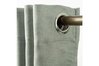 Eyelet Blackout Drapes Linen Looking Curtains Blockout Textured Fabric 1pc/bag Colour Light Grey