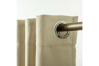 Eyelet Blackout Drapes Linen Looking Curtains Blockout Textured Fabric 1pc/bag Colour Light Linen