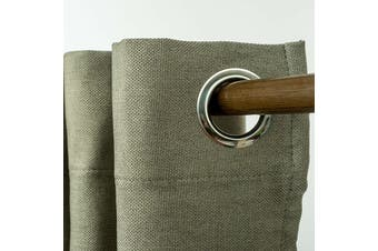 Eyelet Blackout Drapes Linen Looking Curtains Blockout Textured Fabric 1pc/bag Colour Dark Linen