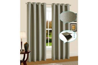 Blackout Linen Eyelet Curtain Blockout Curtain Drape 230cmDrop 1Panel Dark Linen