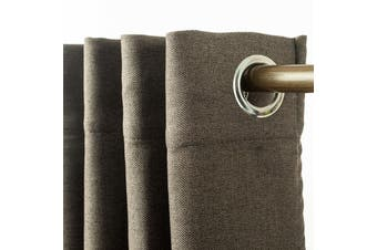 Eyelet Blackout Drapes Linen Looking Curtains Blockout Textured Fabric 1pc/bag Colour Taupe