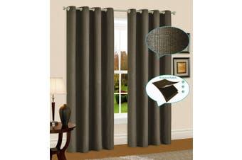 Blackout Linen Eyelet Curtain Blockout Curtain Drapes 230cm Drop 1 Panel Taupe
