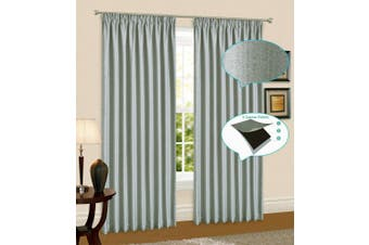 Linen Pinch Pleat Curtain Blockout Curtain Drape 230cm Drop 1Panel  Light Grey