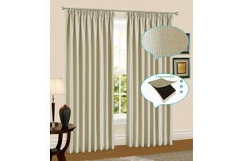 Linen Pinch Pleat Curtain Blockout Curtain Drape 230cm Drop 1Panel  Light Linen