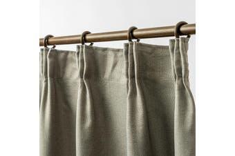 Blockout Pinch Pleat Linen Textured Curtain 230cm Drop 4 Colors 1 Panel/Bag Colour Dark Linen