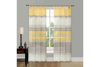 Printed Voile Curtain Tap Top Sheer Panel Two Design 1 Panel /Bag Colour Grey