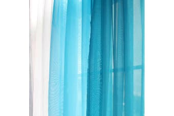 Rod Pocket Voile Curtains Sheer Drops 200cm /245cm Drop Crushed Voile Panel/Pair Colour Blue  Fabric Normal Voile Size 100cmWx200cmD Pair