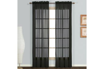 Rod Pocket Voile Curtains Sheer Drops 200cm /245cm Drop Crushed Voile Panel/Pair Colour Black  Fabric Cushed Voile Size 100cmWx200cmD Pair