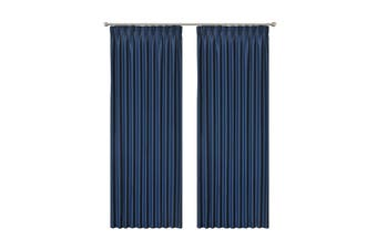 Blockout Pinch Pleat Curtain 3 Layers Fabric Blackout Drapes Room Darkening  Colour dark blue