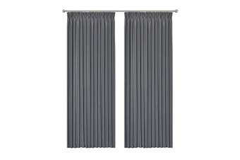 Blockout Pinch Pleat Curtain 3 Layers Fabric Blackout Drapes Room Darkening  Colour dark grey