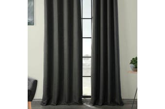 Eyelet Blackout Drapes Linen Looking Curtains Blockout Textured Fabric 1pc/bag Colour Dark Grey