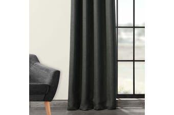 Blockout Pinch Pleat Linen Textured Curtain 230cm Drop 4 Colors 1 Panel/Bag Colour Dark Grey