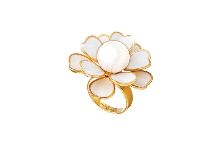 18K Yellow Gold Plated Pearl Flower Ring