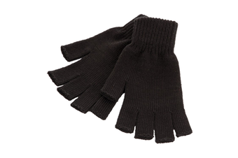 Unisex Men and Women Black Knit Gloves - Fingerless
