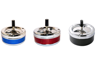 Steel Round Rotating Metal Spin Cigarette Ashtray [Count: 3 Ashtrays]