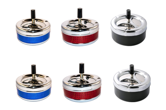 Steel Round Rotating Metal Spin Cigarette Ashtray [Count: 6 Ashtrays]