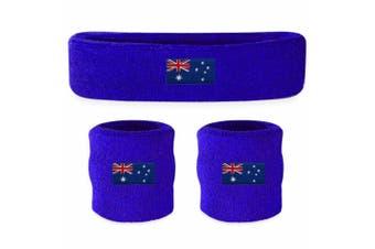 Sweatband Headband Wristband Set - Aussie