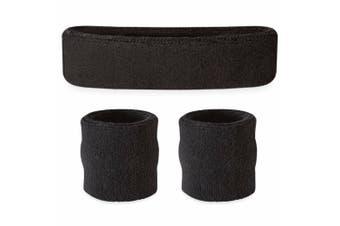 Sweatband Headband Wristband Set - Black