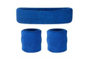 Sweatband Headband Wristband Set - Blue