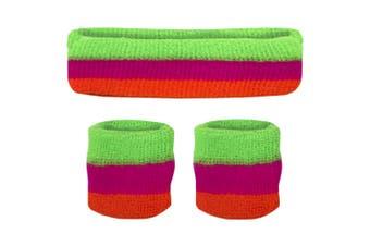 Sweatband Headband Wristband Set - Neon Green Pink Orange
