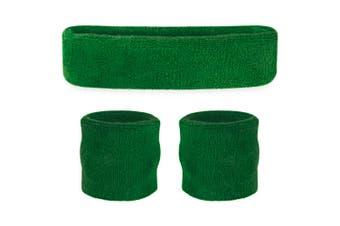 Sweatband Headband Wristband Set - Green