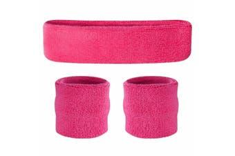 Sweatband Headband Wristband Set - Hot Pink