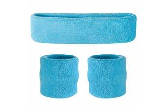 Sweatband Headband Wristband Set - Light Blue